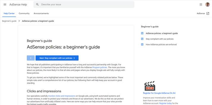 adsense guidelines