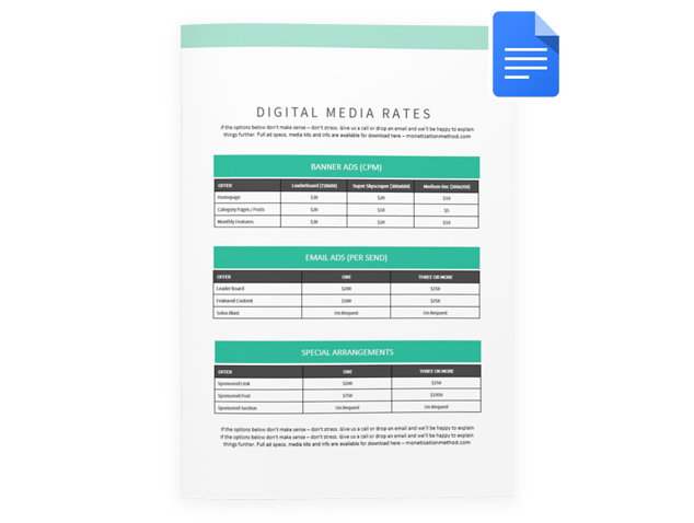 rate card template