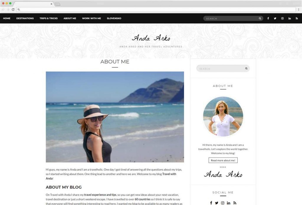 Travel About Me Page Example